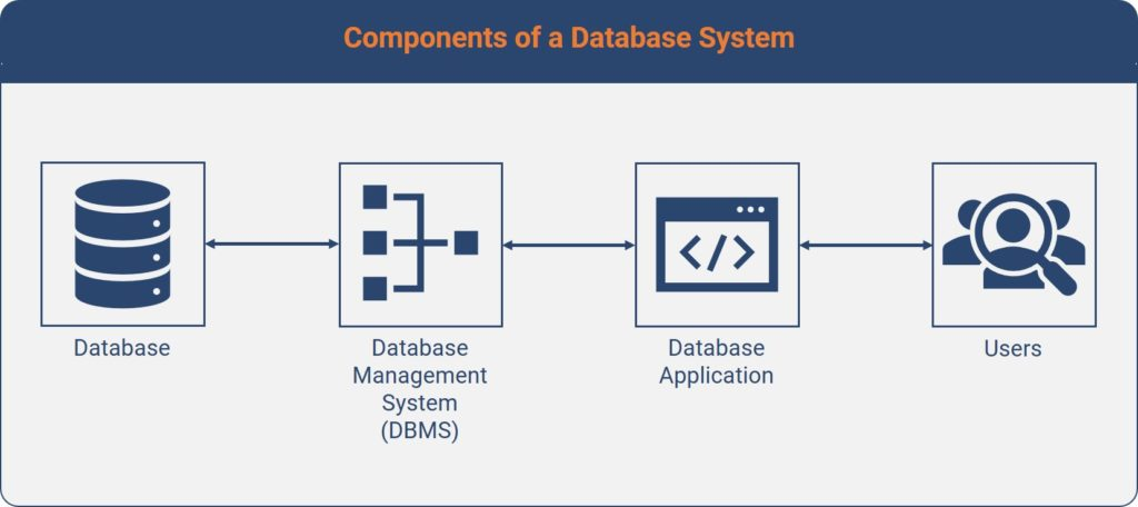 Illustration of the 4 components which make up a database system